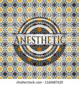 Anesthetic arabesque style emblem. arabic decoration.