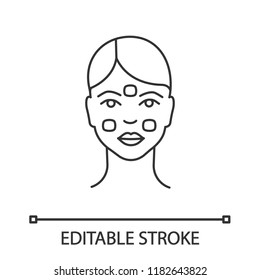 Anesthetic cream for neurotoxin injection linear icon. Facial cream. Thin line illustration. Neurotoxin injection preparation. Skin moisturizing. Vector isolated outline drawing. Editable stroke