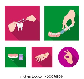 Anesthetic injection, dental instrument, hand manipulation, tooth cleaning and other web icon in flat style.bactericidal plaster, medicine icons in set collection.