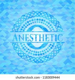 Anesthetic sky blue emblem with mosaic background