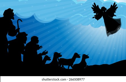 Angel announced to the shepherds the birth of Jesus