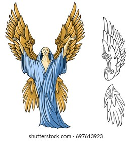 Angel appealing to the god, vector illustration
