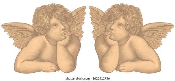 Angel. Art detailed editable illustration. Vector vintage engraving. Isolated on white background. 8 EPS