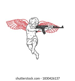 An angel with automatic weapon. Can be used as a sketch of a tattoo.