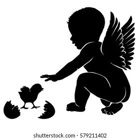 Angel baby with wings Easter chick.