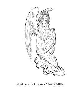 Angel. Biblical heavenly symbol of woman with wings. Decor for greeting retro cards for Christmas, Easter and other religious holidays