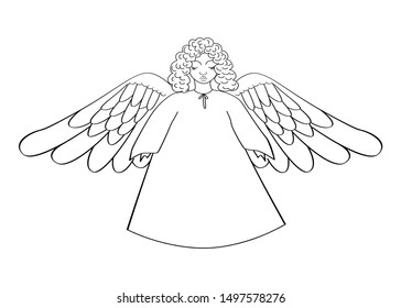 An angel with big wings, in long clothes.