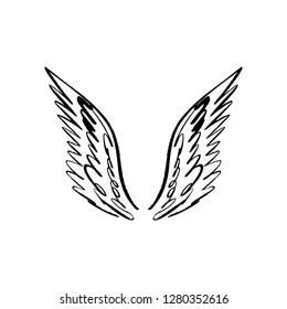 Angel, bird or pegasus wings. Vintage design elements. Tattoo sticker template. Trendy hand drawn doodle sketch