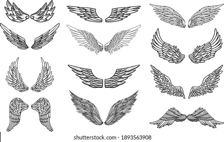 Angel or bird wings abstract sketch set isolated on white. vector doodle illustration. For your design