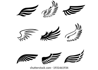 Angel or bird wings icons set. Vector EPS 10.