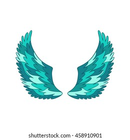 Angel or bird wings ornamental silhouette. Vector illustration isolated on white background.