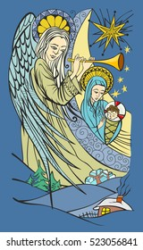 Angel and Blessed Virgin Mary with the infant Jesus in her arms. Traditional Christmas scene. Vector illustration.