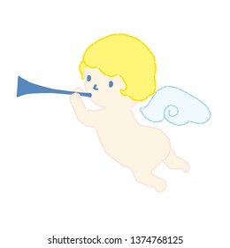 Angel blowing a trumpet vector illustration