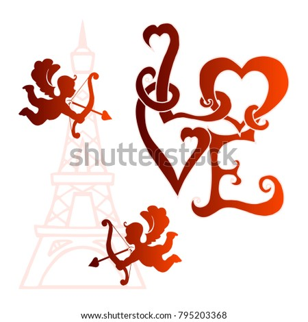 Angel Bow Arrow Love Word Love Stock Vector Royalty Free 795203368