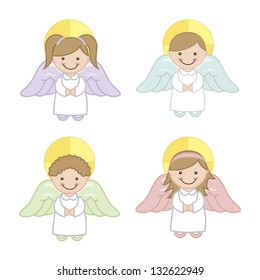 angel cartoon over white background. vector illustration