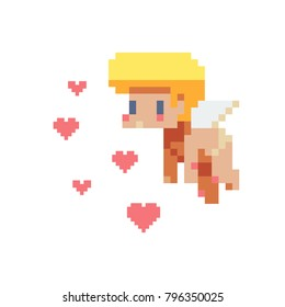 Angel, cupid character. Pixel art. Valentine's day, greeting card design. Sticker design. Isolated vector illustration.