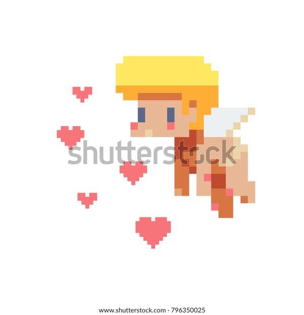 Image Vectorielle De Stock De Angel Caractère Mignon Pixel