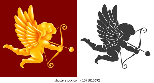 Angel or Cupid cherub, god of love, with a wings, bow and arrow. Monochrome black silhouette and volumetric golden figure in the set. Amur aiming in hearts of lovers. Vector illustration.
