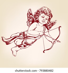 angel or cupid, little baby archery arrow, greeting card a celebration of love hand drawn vector illustration realistic sketch
