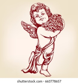 angel or cupid, little baby, holds a bouquet of flowers, greeting card hand drawn vector illustration  realistic  sketch