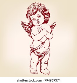angel or cupid, little baby holds a heart, Valentines day, love, greeting card hand drawn vector illustration realistic sketch