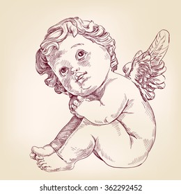 angel or cupid little baby l hand drawn vector llustration  realistic  sketch
