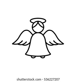 angel cupid minimalistic xmas christmas valentine day's symbol line icon black on white background