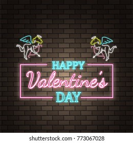 Angel Cupid. Neon happy Valentine's Day banner. Valentine lamp romance heart shape. Colored vector light glow poster. Nightclub neon bulb brick wall label card design. Holiday greeting Love background