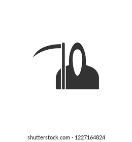 angel of death and scythe, Halloween related icon. Vector icon