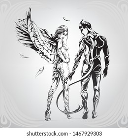 Angel and demon in a floral ornament