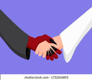 Angel and demon handshake. Deal between enemies cooperation between good and evil, vector illustration harmonious clipart reconciliation for sake of achieving goal.