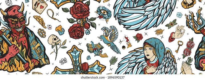 Angel and demon seamless pattern. Old school tattoo style. Good and evil. Cross with roses, hands prayer, dove. Sin and holiness. Paradise and Hell art. Terrible satan with pitchforks and holy nun