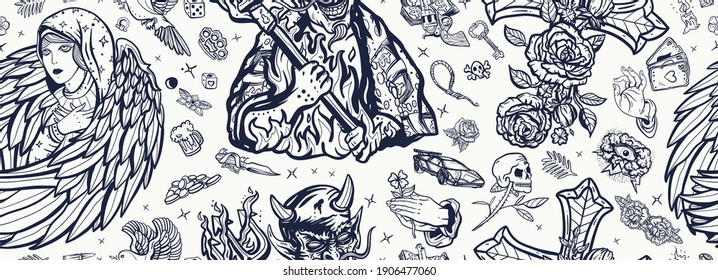 Angel and demon seamless pattern. Paradise and Hell art. Terrible satan with pitchforks and holy nun. Old school tattoo style. Good and evil. Cross with roses, hands prayer, dove. Sin and holiness