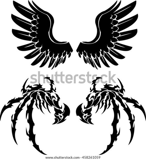 0a47a60b7b7e3 Angel Demon Wings Tattoo Logo Stock Vector (Royalty Free) 458261059