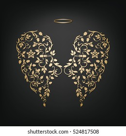 Angel design elements - golden wings and halo on a black background. Abstract vector illustration of ornamental elegant angel wings.