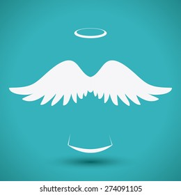 Angel design over blue background, vector illustration,