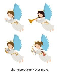 Angel design over white background, vector illustration.