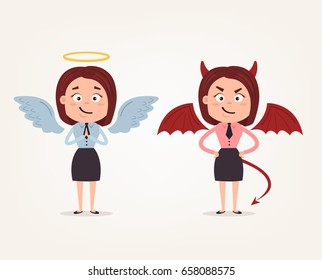 Angel and devil business woman office workers characters. Good and bad. Vector flat cartoon illustration