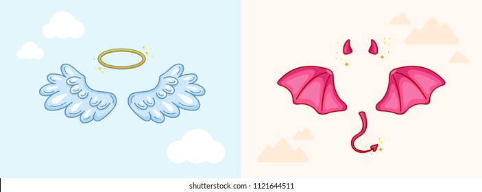 Angel and devil costume elements and props. Symbols of good and bad, kind and evil, saint and sinful. Wings, horns, tail and halo. Choice and conflict concept. Vector illustration, cartoon style.
