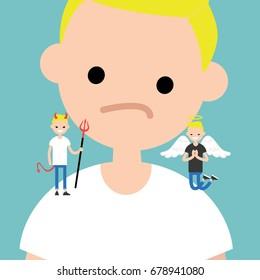 Angel and devil. Decision making conceptual illustration / Flat editable vector illustration, clip art
