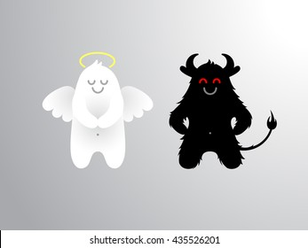 Angel and devil flat cartoon isolated figures.Funny characters, symbols of good and evil.