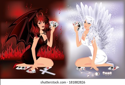 Angel and devil girls playing poker, vector background for casino.
