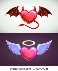 Angel and devil hearts. Love concept icons. Vector illustration.