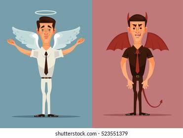 Angel and devil man character. Vector flat cartoon illustration