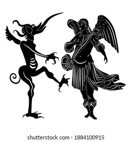 Angel and devil. Medieval art. Black and white silhouette. Juxtaposition of good and evil. Christian religious symbols.