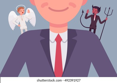Angel and devil on the man shoulders, suggesting. Cartoon vector flat-style illustration