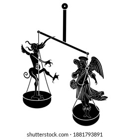 Angel and devil standing on weight scales. Creative concept. Balance or choice between good and evil. Black and white silhouette. Christian mythology.