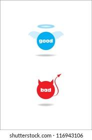 angel and devil symbol; good and bad