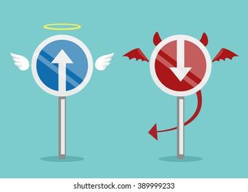 Angel and devil symbol. Vector flat illustration