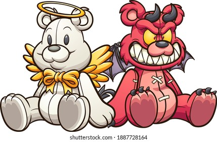 Angel and devil teddy bears sitting down. Vector clip art illustration with simple gradients. Each on a separate layer.